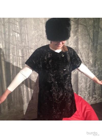 Giacca in finto astrakan nero con bottoni gioiello